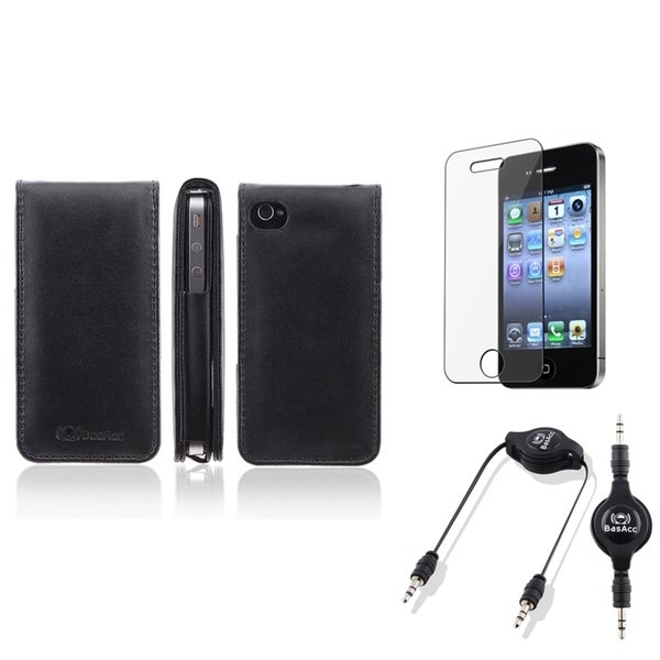 BasAcc Leather Case/ Protector/ Audio Cable for Apple iPhone 4S