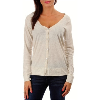247 Frenzy 100-percent Cotton Long-Sleeved Button Cardigan - Oatmeal