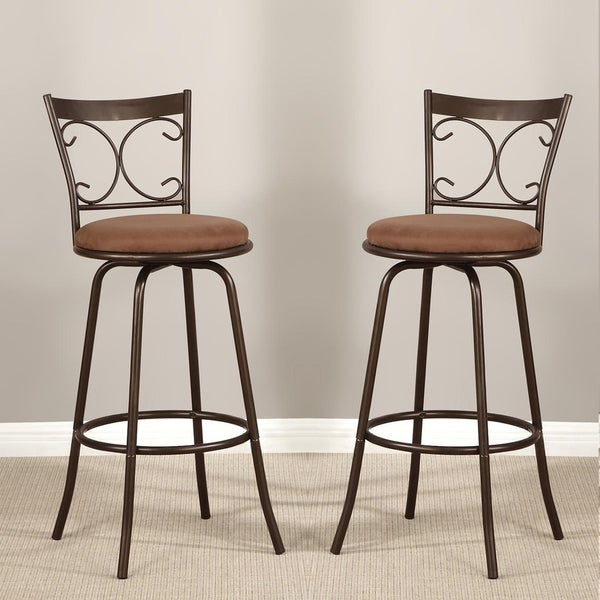 Scroll Back Bronze Adjustable Metal Swivel Counter Height Bar Stools (Set of 2)