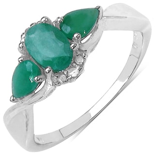 Malaika Sterling Silver 7/8ct TGW Gemstone and Diamond Accent Ring