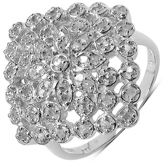 Malaika Sterling Silver 1/3ctw TDW White Diamonds Cocktail Ring (I-J, I3)