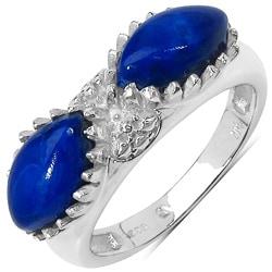 Malaika Sterling Silver 2 1/4ct TGW Marquise-cut Lapis Ring