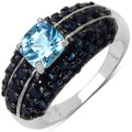 Malaika Sterling Silver 3ct TGW Blue Topaz and Sapphire Ring