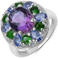 Malaika Silver 4 1/5ct TGW Amethyst, Tanzanite and Chrome Diopside Ring