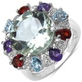Malaika Sterling Silver 7 1/3ct TGW Amethyst, Blue Topaz and Garnet Ring
