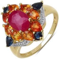 Malaika Gold over Silver 3 3/4ct TGW Multi-gemstone Ring