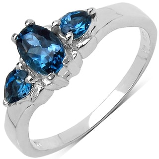 Malaika Sterling Silver 1ct TGW London Blue Topaz Ring