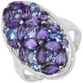 Malaika Sterling Silver 3 1/5ct TGW Amethyst, Tanzanite and White Topaz Ring