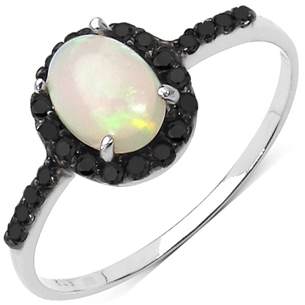 Malaika Sterling Silver Ethiopian Opal and 1/4ct TDW Black Diamond Ring