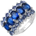 Malaika Sterling Silver 4 2/5ct TGW Kyanite and Tanzanite Ring