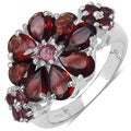Malaika Sterling Silver 4 2/5ct TGW Garnet and Rhodolite Ring