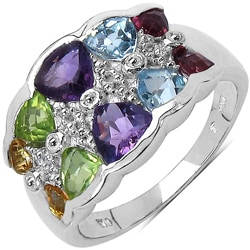 Malaika Sterling Silver 3 3/4ct TGW Multi-gemstone Ring