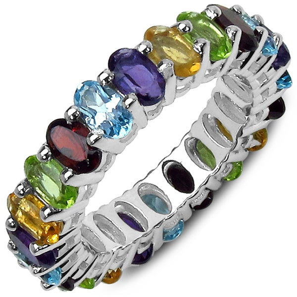 malaika sterling silver 6 3 4ct tgw multi gemstone