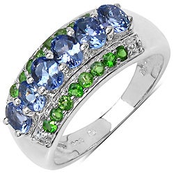 Malaika Sterling Silver 1 1/3ct TGW Tanzanite and Chrome Diopside Ring