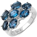 Malaika Sterling Silver 4ct TGW Blue and White Topaz Ring