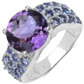 Malaika Sterling Silver 4 1/8ct TGW Amethyst and Tanzanite Ring
