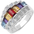 Malaika Sterling Silver 1 3/4ct TGW Multi-gemstone Ring