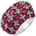 Malaika Sterling Silver 10 4/5ct TGW Ruby and White Topaz Ring
