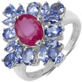 Malaika Sterling Silver 3 3/86ct TGW Ruby and Tanzanite Ring
