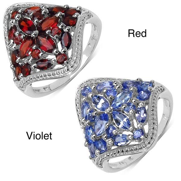 Malaika Sterling Silver 2 1/10ct TGW Garnet or Tanzanite Ring