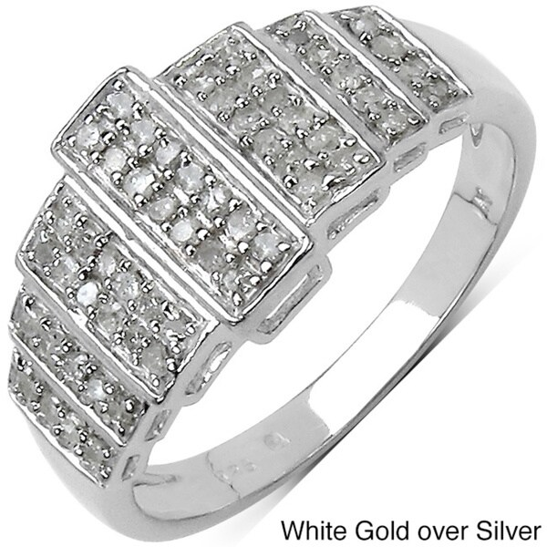 Malaika 14k White Gold over Sterling Silver 1/3ct TDW Diamond Ring (I-J, I2-I3)