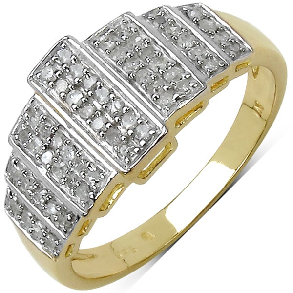 Malaika 14k Yellow Gold over Silver 1/3ct TDW Diamond Ring (I-J, I2-I3)