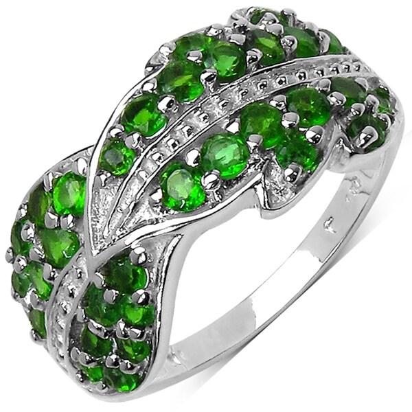 Malaika Sterling Silver 1 1/10ct TGW Chrome Diopside Ring