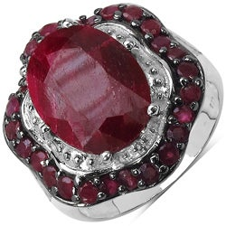 Malaika Sterling Silver 8 4/5ct TGW Ruby Ring