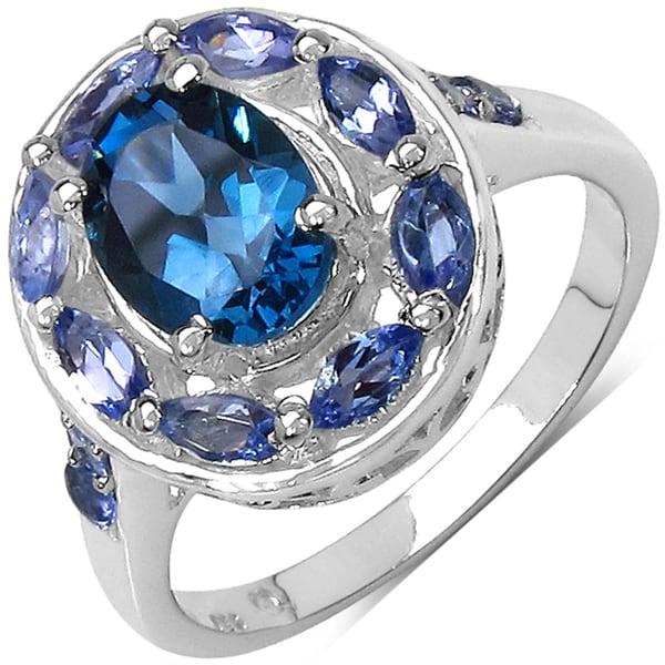 Malaika Sterling Silver Blue Topaz and Tanzanite Ring