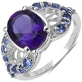 Malaika Sterling Silver 3ct TGW Amethyst and Tanzanite Ring