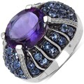 Malaika Sterling Silver 5 4/5ct TGW Amethyst and Tanzanite Ring