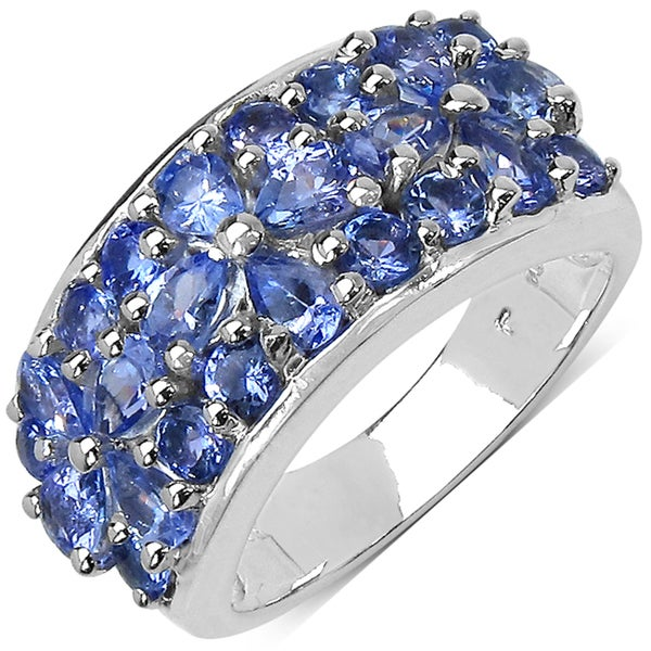 Malaika Sterling Silver 2 1/2ct TGW Tanzanite Cluster Ring