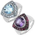 Malaika Sterling Silver Amethyst and Ruby Ring