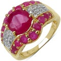 Malaika 14k Yellow Gold over Silver 4 4/5ct TGW Ruby and White Topaz Ring