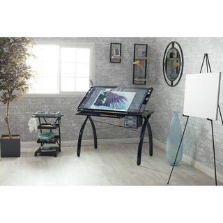 Studio Designs Futura Black/Clear Glass Drafting and Hobby Craft Station Table