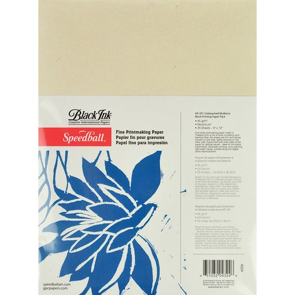 "Speedball Block Printing Paper Pack 9""x12"" 25 Sheets/Pkg"