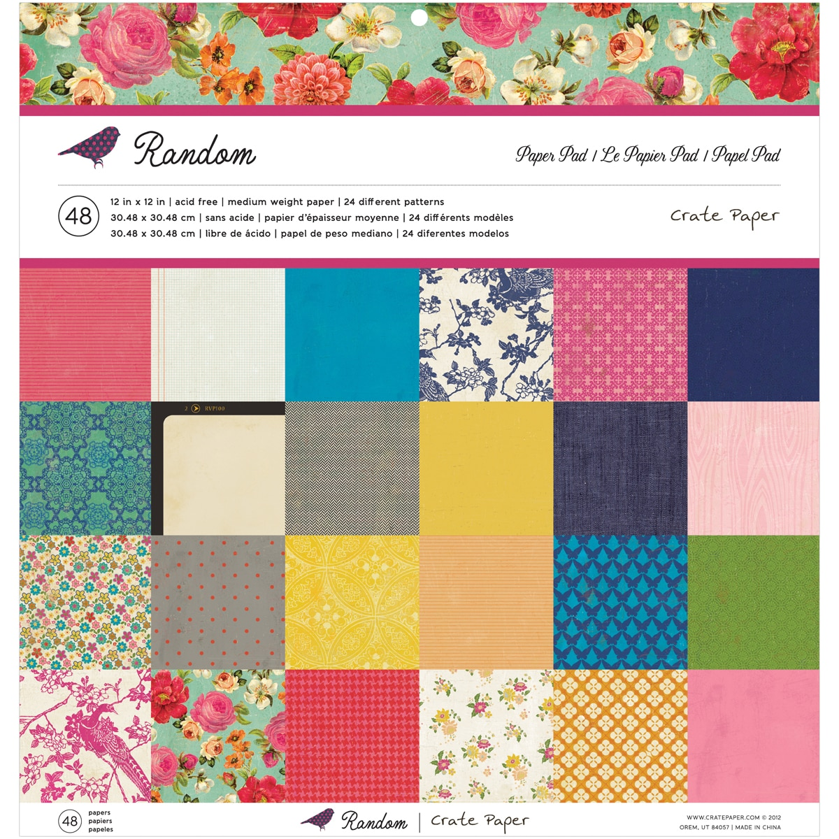"Crate Paper Paper Pad 12""X12"" 48 Sheets-Random 24 Designs/2 Each"