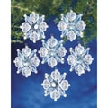 "Holiday Beaded Ornament Kit-Filagree Snowflake 1-3/4"" Makes 12"