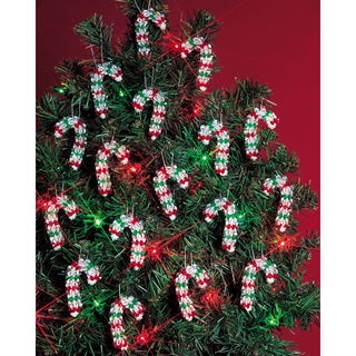 """Holiday Beaded Ornament Kit-Mini Candy Canes 2"""" Makes 24"""