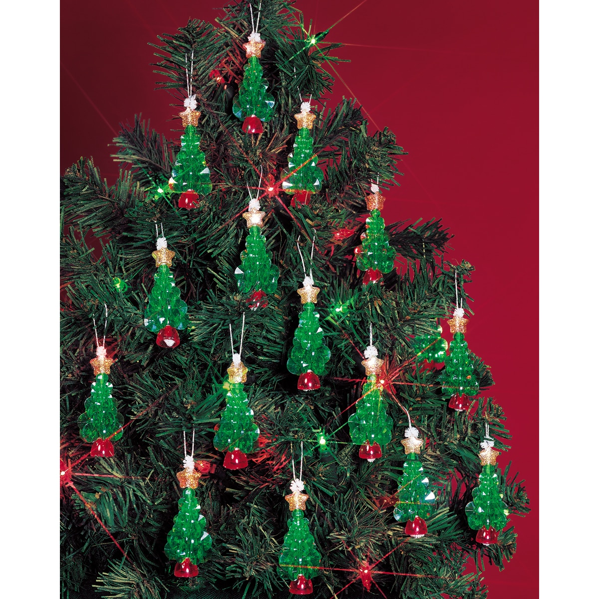 """Holiday Beaded Ornament Kit-Mini Trees 2-1/4"""" Makes 24"""