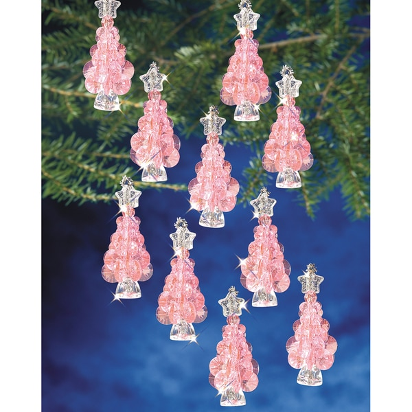 "Holiday Beaded Ornament Kit-Mini Pink Trees 2-1/4"" Makes 12"