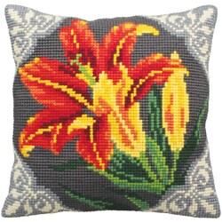 Lys Orange Pillow Cross Stitch Kit