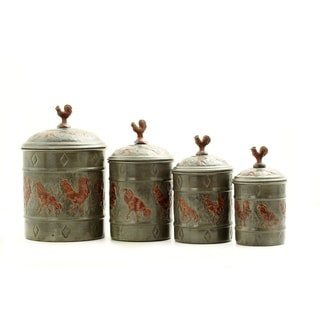 Old Dutch 4-piece Fresh Seal Covers Rooster Canister Set