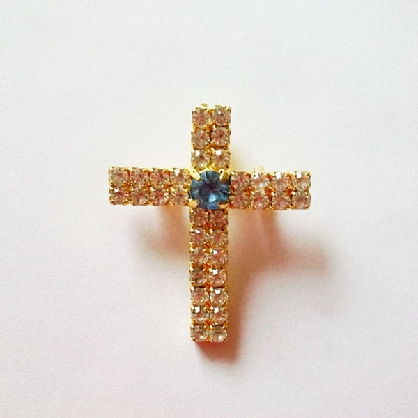 Detti Originals Blue Center Crystal Cross Pin