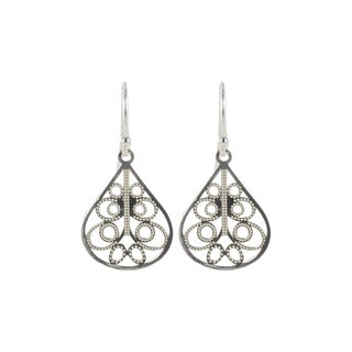 Sunstone Sterling Silver Filigree Teardrop Dangle Earrings