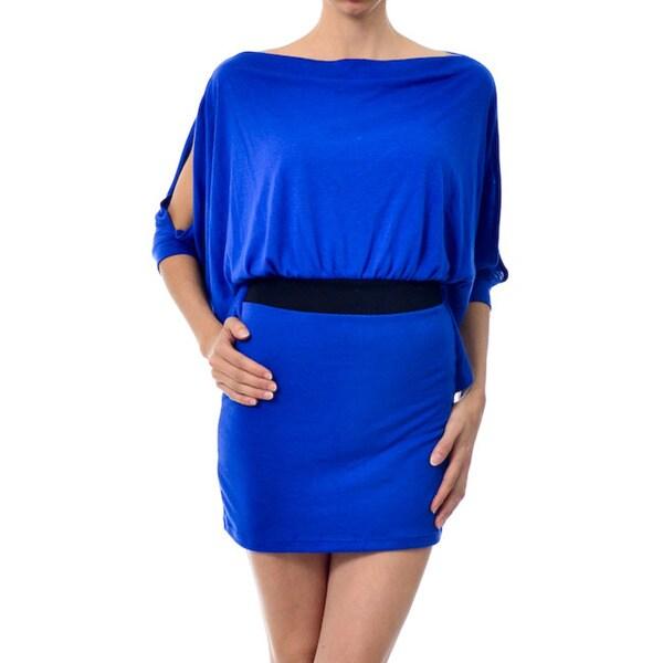 Ella+Cathy Jersey Dolman Open Sleeve Wide Neck Dress with Contrast Waist Detail