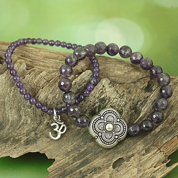 Handcrafted Faceted Amethyst Antique Cross and Om Stretch Bracelet (USA)