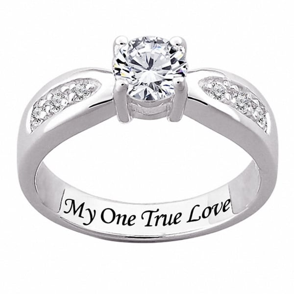 Sterling Silver Engraved CZ Wedding-style Ring