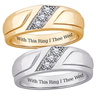 Sterling Silver Men's Cubic Zirconia Engraved Wedding-style Band