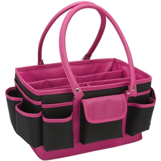 Mackinac Moon Open Top Craft Tote-Black/Pink Dots